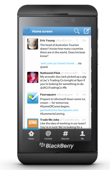 Blackberry Z10 showing Twitter