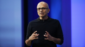 SAN FRANCISCO, CA - APRIL 29: Microsoft CEO Satya Nadella delivers a keynote during the 2015 Microsoft Build Conference on April 29, 2015 at Moscone Center in San Francisco, California. Thousands are expected to attend the annual developer conference which runs through May 1. (Photo by Stephen Lam/Getty Images)